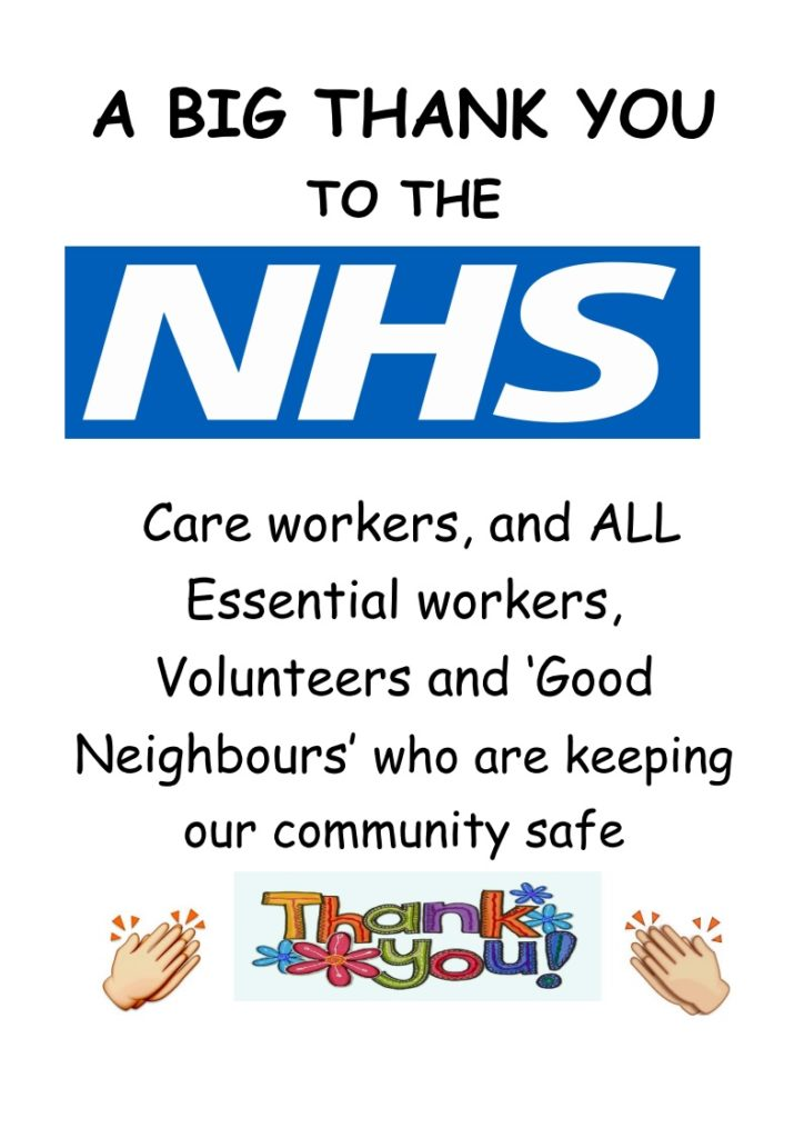 NHS care workers etc. thank you
